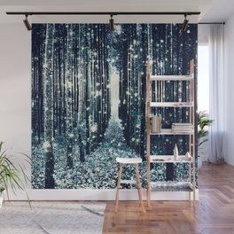 Magical Forest Teal Gray Elegance Wall Mural