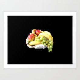 fruit bowl on black background painted art Art Print