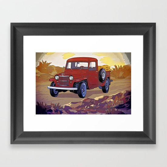 Old Jeep Car Framed Art Print