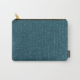 Hieroglyphics Moonstone BLUE / Ancient Egyptian hieroglyphics pattern Carry-All Pouch
