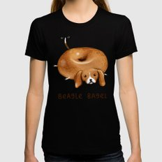 Beagle Bagel SMALL Womens Fitted Tee Black