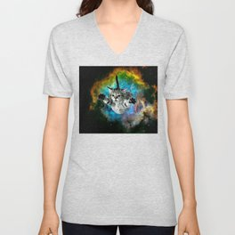 Galaxy Cat Universe Kitten Launch                                                 Unisex V-Neck
