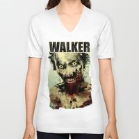 blood V-neck T-shirts featuring UNDEAD by Fresh Doodle - JP Valderrama
