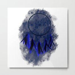 Dreamcatcher Deep Blue Darkness: Blue background Metal Print