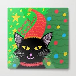 Christmas Cat-Long Black Hair Yellow Eyes Metal Print