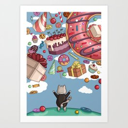 Cat and sweets Art Print