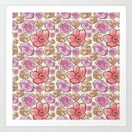 Modern botanical blush pink coral pastel yellow floral illustration Art Print