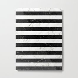 Marble Stripes Pattern 2 - Black and White Metal Print