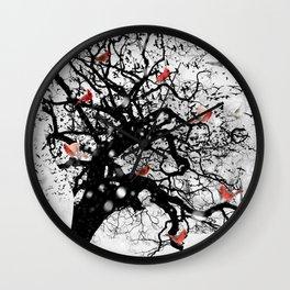 Red Birds in Snow by GEN Z Wall Clock