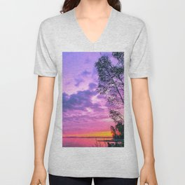 Day fading into the lake Unisex V-Neck