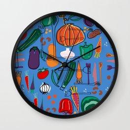 fall veggies blue Wall Clock