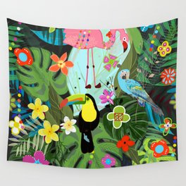 Parrots, Toucan and Flamingo Tropical Birds Tropical Forest Pattern Wall Tapestry