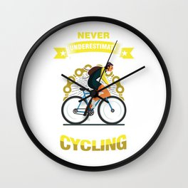 Cyclist Bicycle Fitness Exercise Gift Never Underestimate An Old Man Who Loves Cycling Wall Clock