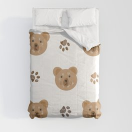 Brown doodle paw print and teddy bear Comforters