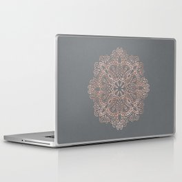 Mandala Rose Gold Pink Shimmer on Soft Gray by Nature Magick Laptop & iPad Skin