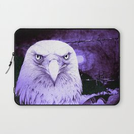 Art print: The Bald Eagle, the barbwire and the Blue flag Iris. Laptop Sleeve