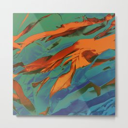 Green, Orange and Blue Abstract Metal Print