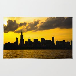 Chicago Skyline Sunset Rug