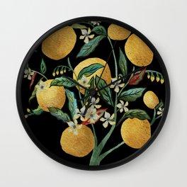 Lemon Tree Water Color on Black Wall Clock