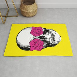 Skull and Roses | Skull and Flowers | Vintage Skull | Yellow and Pink | Rug