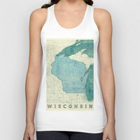 wisconsin Tank Tops featuring Wisconsin State Map Blue Vintage by City Art Posters