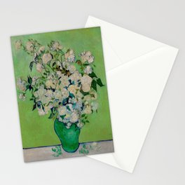 White Rose In A Vase Vincent van Gogh 1890 Oil on Canvas Still Life With Floral Arrangement Stationery Cards