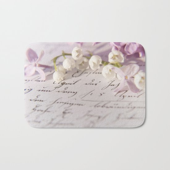 Loveletter - Springflower and old letter - Photography Bath Mat