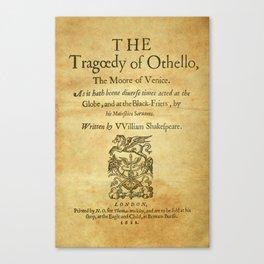 Shakespeare. Othello, 1622. Canvas Print