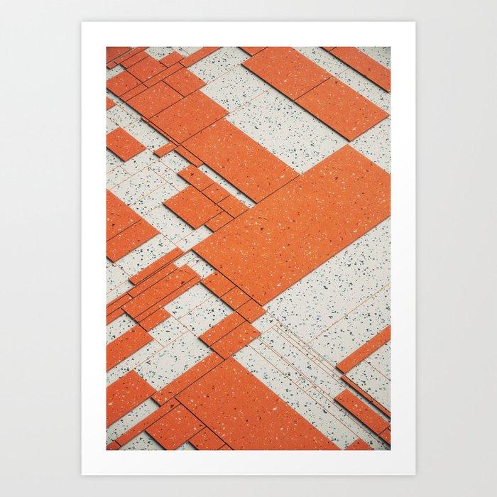 Marble/Orange Geometric Grid Art Print