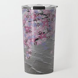 Cherry blossom, in pink and purple, with silver background - zen picture Travel Mug