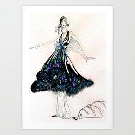 Black evening dress Art Print