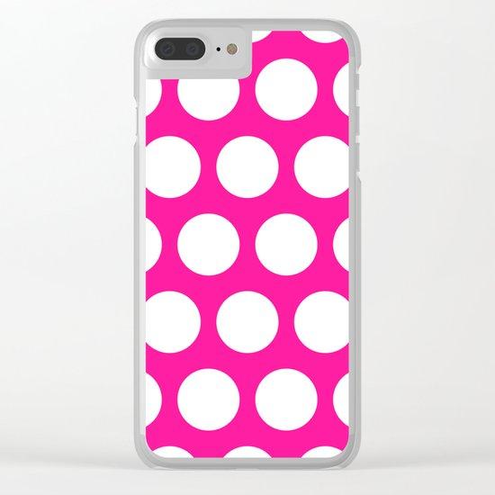 Big polka dots on deep pink Clear iPhone Case