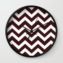 Dark sienna - purple color - Zigzag Chevron Pattern Wall Clock