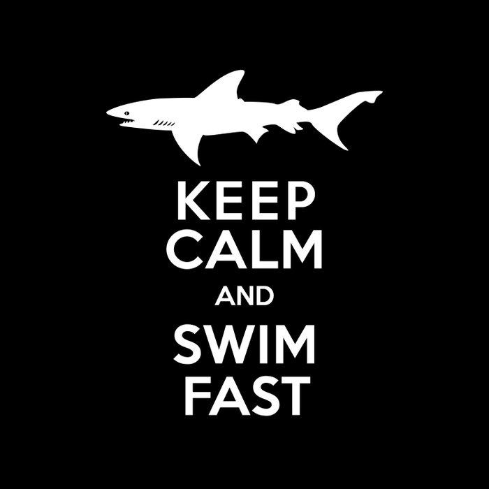 Keep Calm and Swim Fast Shark Duvet Cover