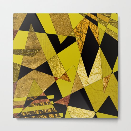 Abstract #508 Black, Gold & Copper Shards Metal Print