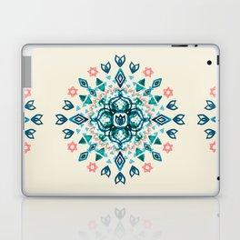 Watercolor Lotus Mandala in Teal & Salmon Pink Laptop & iPad Skin