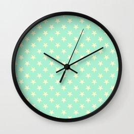 Cream Yellow on Magic Mint Green Stars Wall Clock