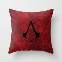 assassins creed Throw Pillows featuring Creed Assassins Brotherhood by aleha