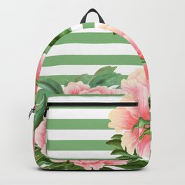 Pink Peonies Green Stripes Backpack