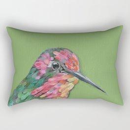 Green background Annas Hummingbird Rectangular Pillow