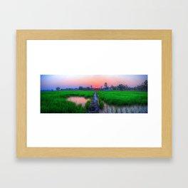 Sunset Over Rice - Thailand Framed Art Print