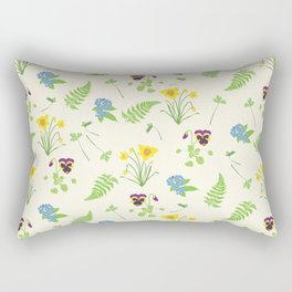 Spring Flowers and Ferns Illustrated Pattern Print Rectangular Pillow