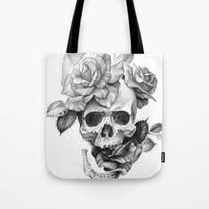 Black and white Skull and Roses Tote Bag