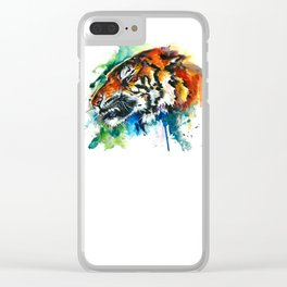 Orange Mad Tiger Watercolor Clear iPhone Case