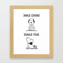 Snoopy Peanuts Dog Yoga Funny- Inhale Courage Framed Art Print