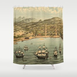 Vintage Pictorial Map of San Francisco (1884)  Shower Curtain