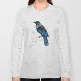 Tui, New Zealand native bird Long Sleeve T-shirt