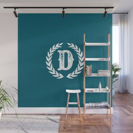 Dark Teal Monogram: Letter D Wall Mural