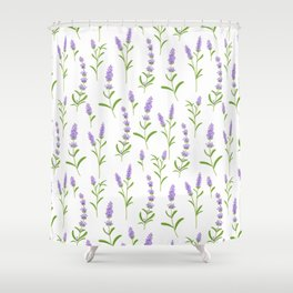 Modern hand painted lilac watercolor lavender floral pattern Shower Curtain