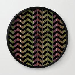 Zigzag striped pattern.Black, green, Burgundy stripes. Wall Clock
